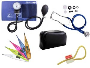 Kit Aparelho de Pressão com Estetoscópio Rappaport Premium + Termômetro Digital + Garrote Exclusivo JRMED
