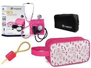 Kit Enfermagem de Aparelho Pressão com Estetoscópio Clinico Duplo Incoterm + Necessaire