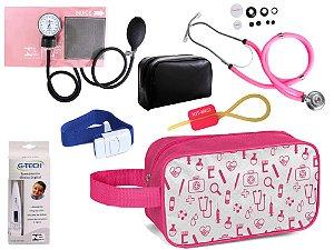 Kit Enfermagem Aparelho Pressão com Estetoscópio Rappaport Duplo Premium + Termômetro + Necessaire