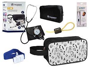 Kit Enfermagem Aparelho Pressão com Estetoscópio Clinico Duplo Incoterm + Termômetro + Necessaire