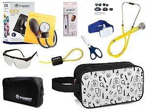 Kit Enfermagem Aparelho Pressão com Estetoscópio Rappaport Incoterm Completo + Necessaire
