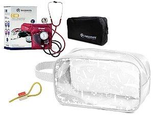Kit Enfermagem de Aparelho Pressão com Estetoscópio Clinico Duplo Incoterm + Necessaire Transparente