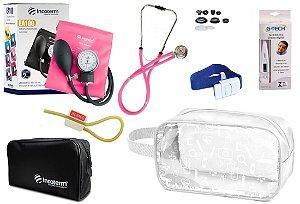 Kit Enfermagem Aparelho Pressão com Estetoscópio Rappaport Incoterm + Termômetro + Necessaire Transparente