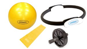 Kit Yoga, Pilates, Ginastica para Treino em Casa - Amarelo - Supermedy