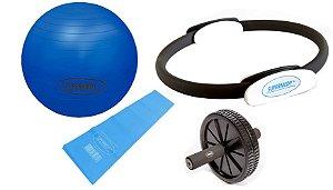 Kit Yoga, Pilates, Ginastica para Treino em Casa -  Azul - Supermedy
