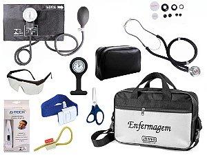Kit Enfermagem Aparelho De Pressão com Estetoscópio Rappaport Premium Completo + Bolsa JRMED + Relógio Lapela