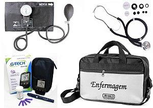 Kit Enfermagem Aparelho Pressão com  Estetoscópio Rappaport Premium + Bolsa JRMED + Medidor de Glicose - G-Tech
