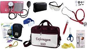 Kit Enfermagem Aparelho Pressão com Estetoscópio Rappaport Premium Completo + Bolsa JRMED + Medidor de Glicose - G-Tech