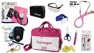 Kit Enfermagem Aparelho Pressão com Estetoscópio Rappaport Incoterm Completo + Bolsa JRMED + Medidor de Glicose - G-Tech