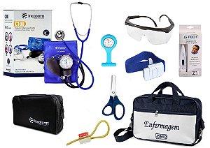 Kit Enfermagem Aparelho De Pressão com Estetoscópio Clinico Duplo Incoterm Completo + Bolsa JRMED + Relógio