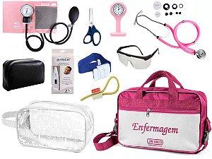 Kit Enfermagem Aparelho De Pressão com Estetoscópio Rappaport Premium Completo + Bolsa JRMED + Relógio Lapela + Necessaire