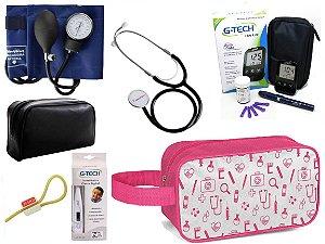 Kit Enfermagem Esfigmomanômetro E Estetoscópio Simples Premium + Medidor de Glicose + Necessaire