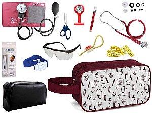 Kit Material de Enfermagem Aparelho Pressão com Estetoscópio Duplo Rappaport Premium Completo Cores + Necessaire