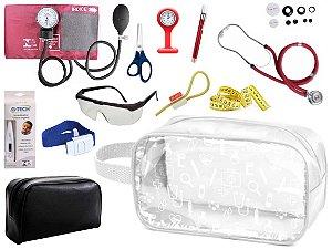 Kit Material de Enfermagem Aparelho Pressão com Estetoscópio Duplo Rappaport Premium Completo Cores + Necessaire Transparente