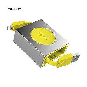 Cabo Dados & Carregador Lightning Retrátil da ROCK - 80 cm - 5V/2.1A - Amarelo