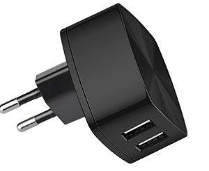 HOCO-CONVERSOR PAREDE C/ 2 SAIDAS USB - RAPID CHARGER - BK