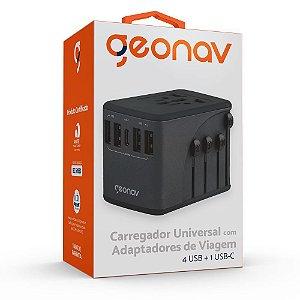 Carregador Universal Adaptadores de Viagem 4 USB + 1 USB-C GEONAV