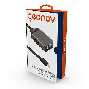 Cabo Adaptador USB-C para VGA e HDMI GEONAV