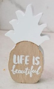 "Enfeite Abacaxi branco ""Life is beautiful"""