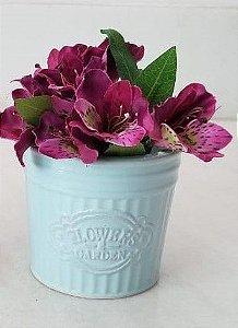 Vaso cerâmica retrô azul