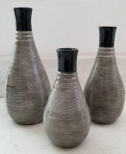Conjunto vaso cinza (3 peças)
