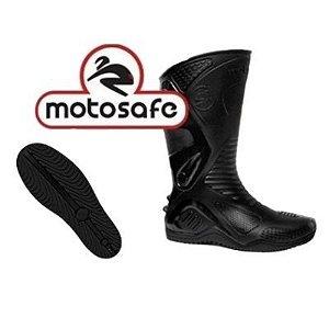 Bota Motosafe em PVC Cor Preta uso Motociclista