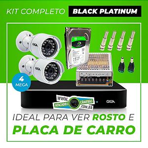 Kit Completo de Monitoramento CFTV com 2 Câmeras Open HD 4 Mega Giga Security Black Platinum