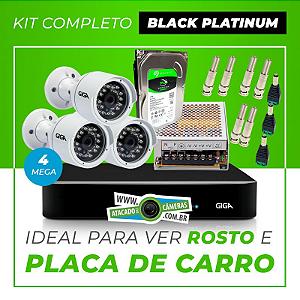 Kit Completo de Monitoramento CFTV com 3 Câmeras Open HD 4 Mega Giga Security Black Platinum