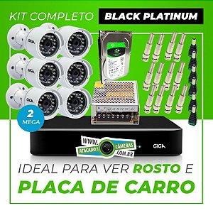 Kit Completo de Monitoramento CFTV com 6 Câmeras Open HD 4 Mega Giga Security Black Platinum