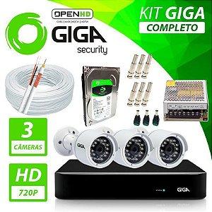 Kit Completo de Monitoramento com 3 Câmeras Open HD Giga Security