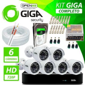 Kit Completo de Monitoramento com 6 Câmeras Open HD Giga Security
