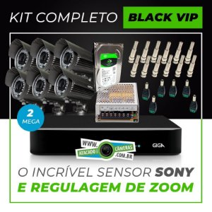 Kit Completo de Monitoramento com 6 Câmeras Varifocais Giga Security Black Vip