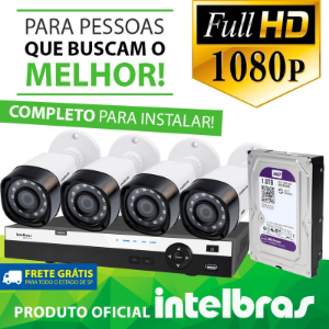 Kit Definição Total Intelbras Completo Full HD com 4 Canais e 4 Câmeras Bullet 1080p