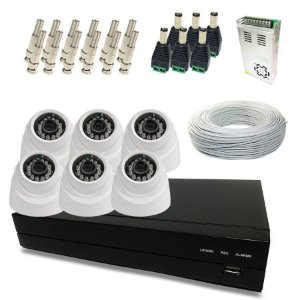 Kit Super Light 6 câmeras Dome, DVR 8 canais, cabo, fonte e conectores