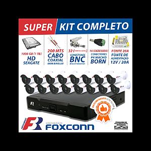 Kit 16 canais cftv super flex focusbras completo