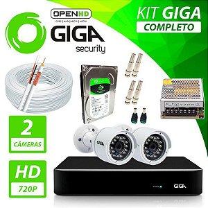 Kit Completo de Monitoramento com 2 Câmeras Open HD Giga Security