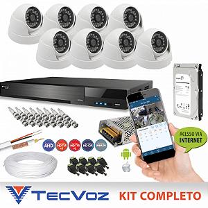 Kit Nacional Alta Definição Flex HD Tecvoz Completo 8 Canais de Vídeo com 8 Câmeras Dome de Metal