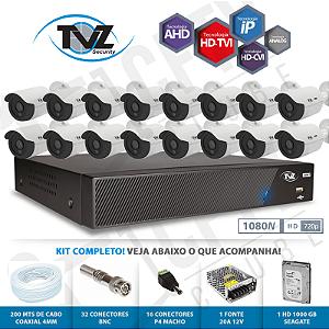 Kit Super Flex Alta definição 16 Canais com 16 Câmeras Tecvoz Tvz completo