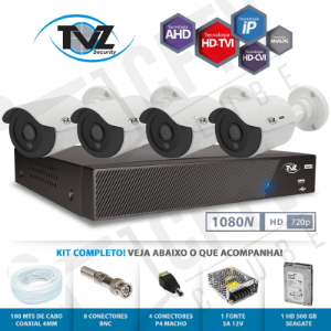 Kit Super Flex Alta definição 4 Canais com 4 Câmeras Tecvoz Tvz completo