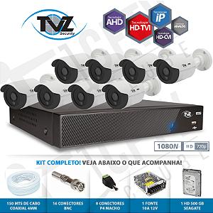 Kit Super Flex Alta definição 8 Canais com 8 Câmeras Tecvoz Tvz completo