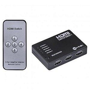Switch HDMI Full HD 3D Digital com Controle Remoto (5 Entradas x 1 Saída)