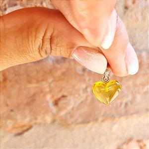 Pingente Coração de Âmbar Pequeno - Mel Polido