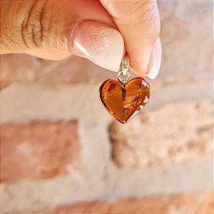 Pingente Coração de Âmbar Pequeno - Conhaque Polido