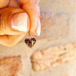 Pingente Coração de Âmbar Pequeno - Verde Escuro