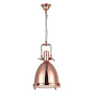 Luminária Pendente Industrial Retrô Metal Bronze e Vidro Fosco