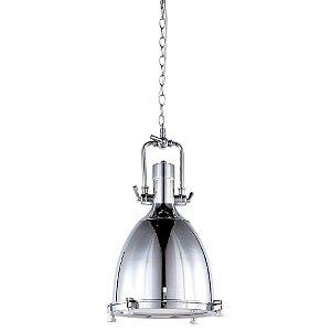 Luminária Pendente Industrial Retrô Metal Cromado e Vidro Fosco