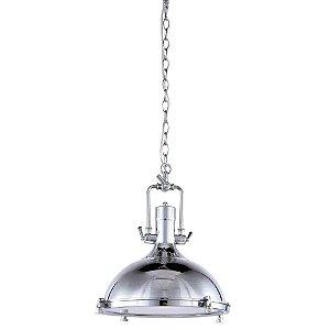 Pendente Industrial Retrô Metal Cromado e Vidro Fosco