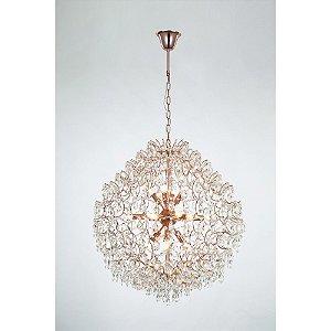Pendente de Cristal e Aço Ouro Rose Pear - 16 x E14