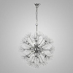 Pendente de Cristal e Aço Cromado Fibbra - 12 x G9