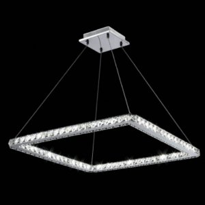 Pendente Cristal Quadrado LED Integrado 36W 3000K